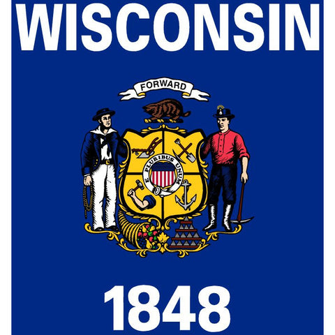 Wisconsin State Flag Sticker Decal - The Badger State Bumper Sticker