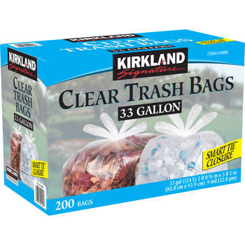 Kirkland Clear Trash Bag - 33 Gallon