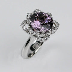 spinel and diamond engagement ring