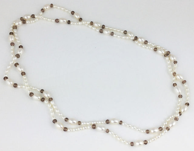 CULTURED FRESH WATER PEARLS WITH CHAMPAGNE GARNETS