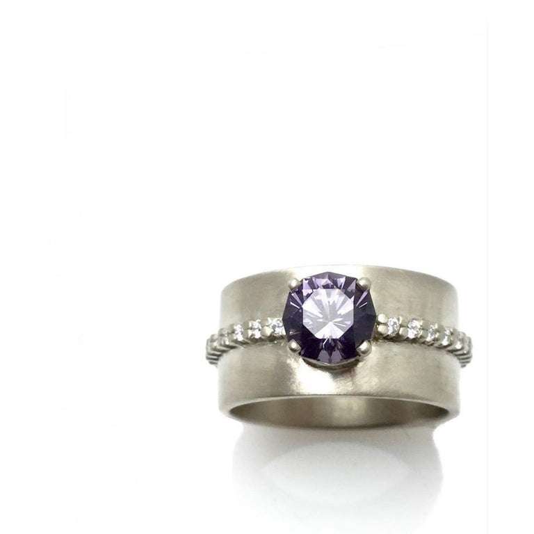 Wide Spinel & Diamond Ring