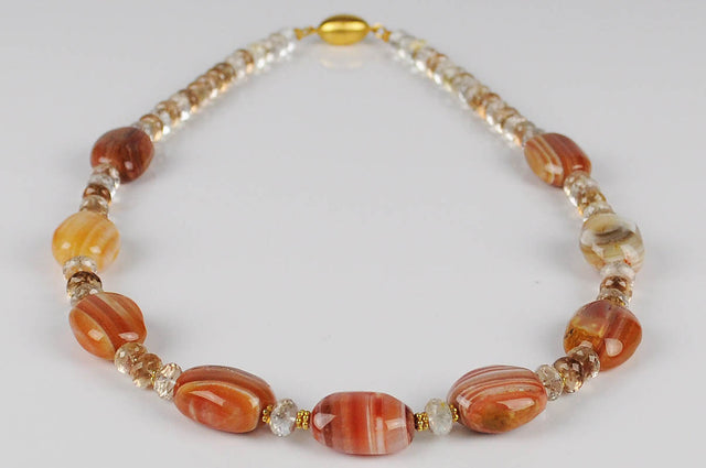 AGATE & BROWN TOPAZ NECKLACE