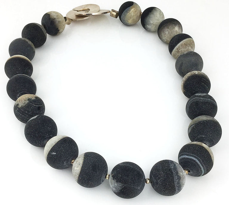 BLACK & GREY BANDED AGATE NECKLACE