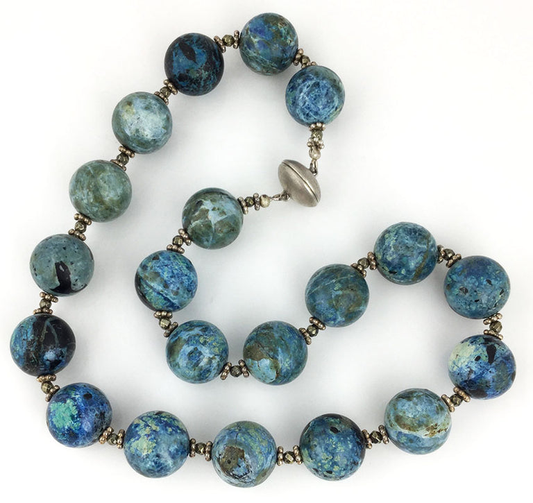 Blue opal and faceted pyrite handmade natural stone necklace.  COmpleted with magnetic clasp.