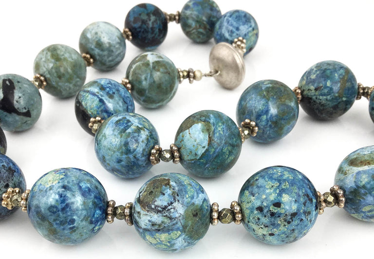 BLUE OPAL & PYRITE NECKLACE