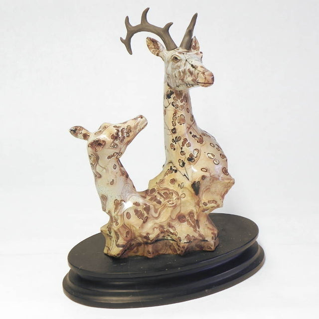 SPOTTED JASPER BUCK AND FAUN - EAT Gallery-mineral specimens, handcrafted jewelry, art, stone carvings, men's gifts, fine watches, home decor
