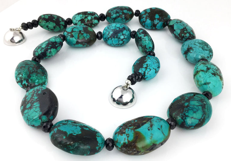 BLACK SPINEL & CHINESE TURQUOISE NECKLACE