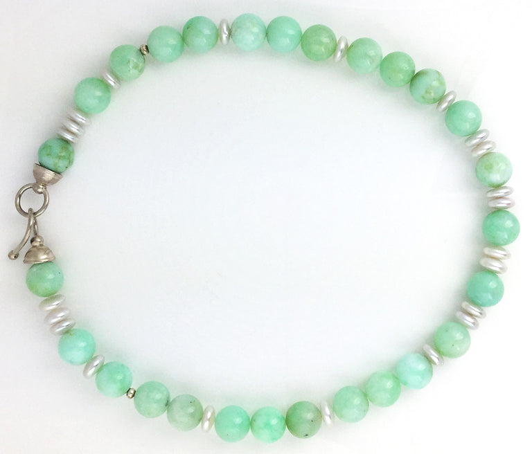 CHRYSOPRASE & PEARL NECKLACE
