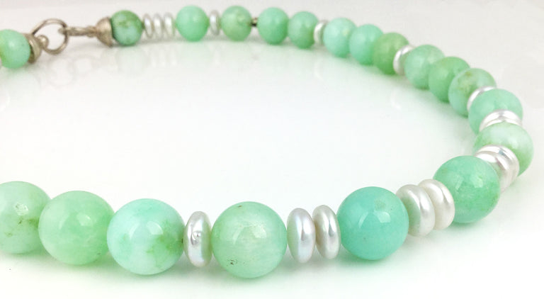 Chrysoprase and coin pearl necklace with a sterling silver clasp designed at EAT Gallery, 20.5 inches in length
