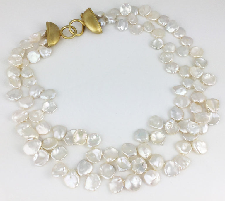 DOUBLE STRAND OF WHITE 'PETAL' PEARLS