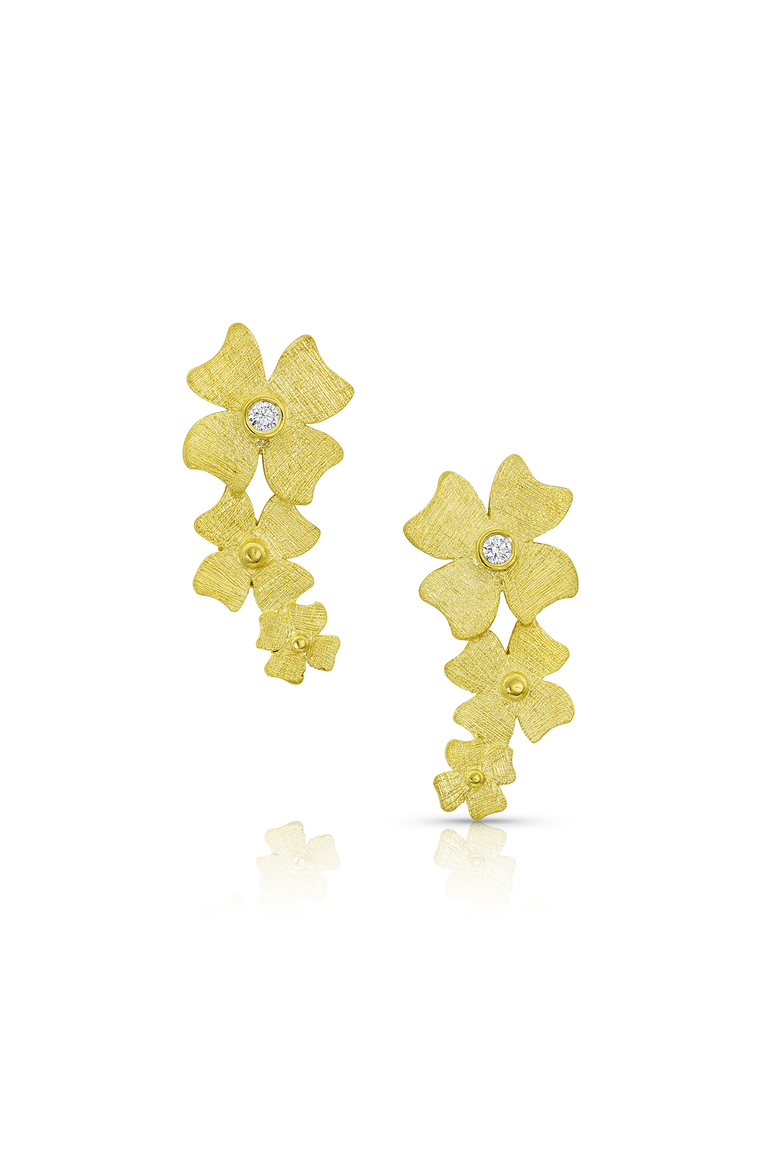 Beautiful flower earrings by Alishan can be worn hanging down or as a climber.  Simple yet elegant with great texture and details including 0.03ctw white diamonds to add a little sparkle!
