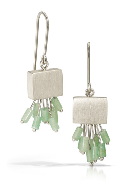 Bree Richey's recangle earrings in silver with amazonite fringe will add a splash of color and pizazz to your look!