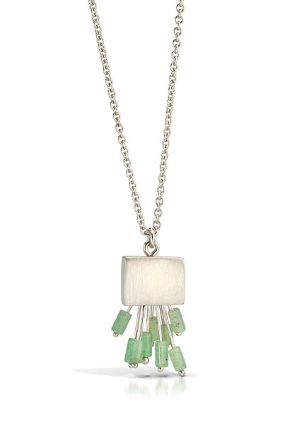 Small rectangle pendant in sterling silver with amazonite fringe on a 18 inch silver chain.