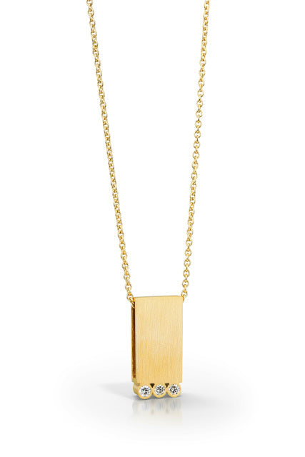 Rectangle Pendant in 14k matte gold finish with three diamonds by Bree Richey.