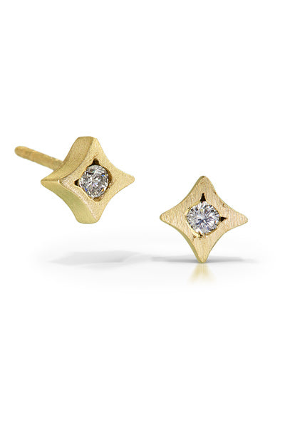 These sweet little 'star' earrings feature .08ctw white diamonds and a 14k matte gold vermeil finish.