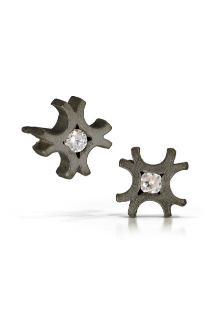 Winter studs with diamonds in oxidized silver 'shadow' finish by Bree Richey.