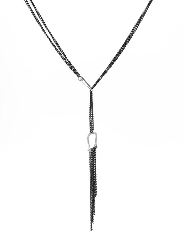 This elegant lariat fringe necklace by Shayna Jingst is adjustable in length and comfortably light-weight.  it is Argentium silver (100% recycled) and oxidized sterling silver chain
