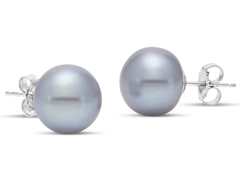 Grey Button Pearl Studs