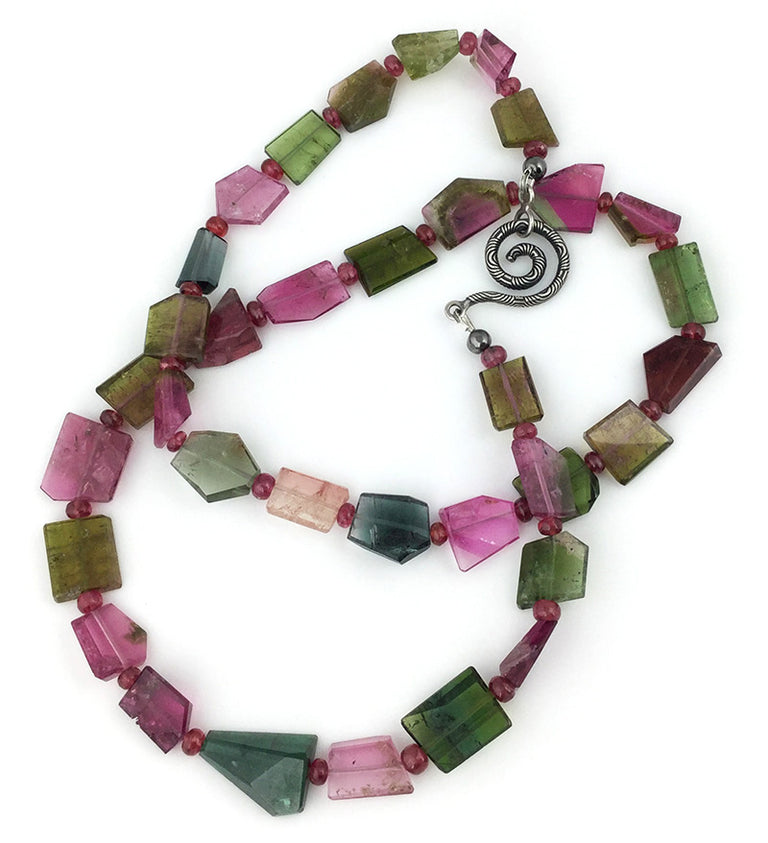 Bi-color and watermellon tourmaline nuggets with red spinel bead necklace handmade at EAT Gallery.