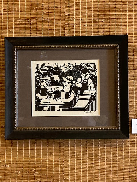 "'Printmaking' framed linocut by local artist Ken Swinson.  12"" x 10"" including mat and frame."