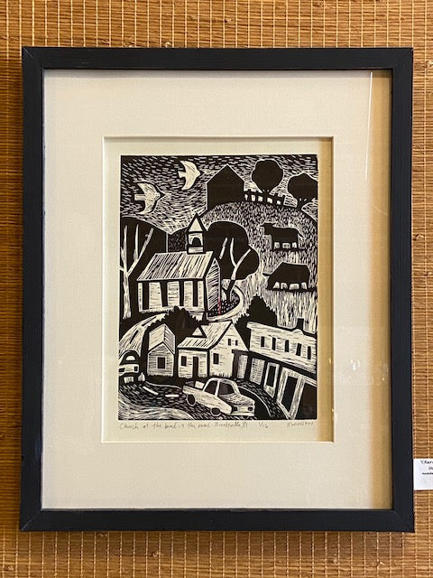 "Framed and numbered linocut by local artist Ken Swinson.  Numbered 1 of 16  21.5"" x 17.5"" including mat and handmade frame."