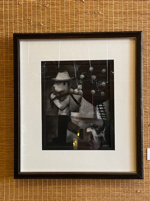 "Framed charcoal on handmade paper by local artist Ken Swinson.    17.5' x 15.5"" including mat and handmade frame"