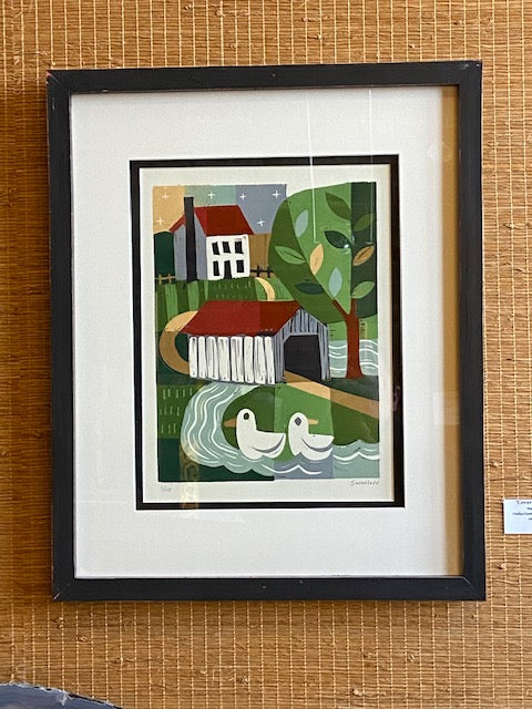 "Framed and numbered reduction wood cut on paper by local artist Ken Swinson.  Numbered 1 of 10  21.5"" x 17.5"" including mat and frame"