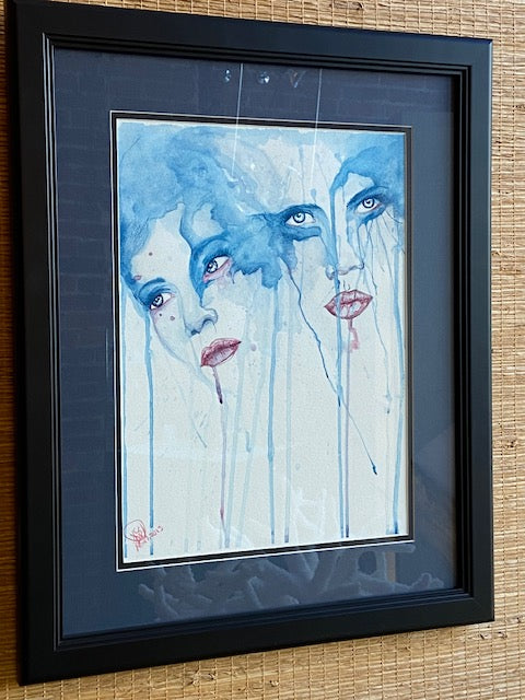"'Possession' watercolor by local artist Noah Hardin-Burns.  21.5"" x 17.5"" including mat and frame"