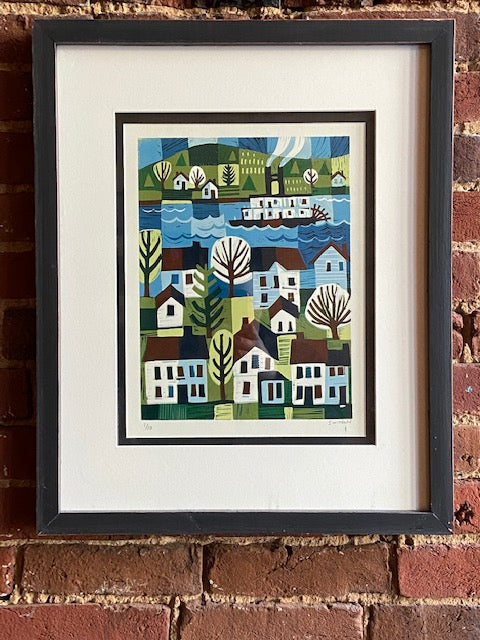 "'Rivertown with Sternwheeler' framed and numbered reduction woodcut by local artist Ken Swinson.  Numbered 1 of 10  21 1/4"" by 17 1/4"" including mat and frame."