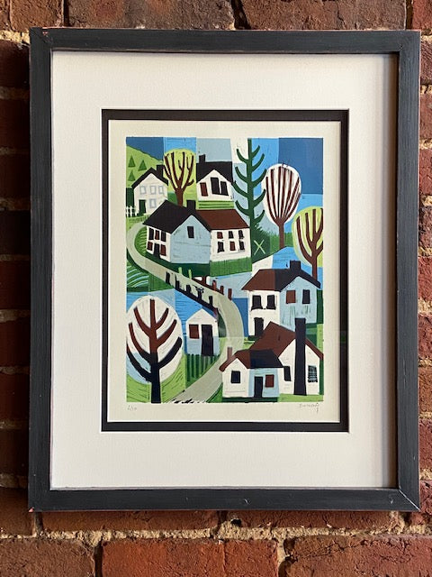 "'Rivertown with Creek' framed and numbered woodcut reduction print by Ken Swinson.  Numbered 2 of 10  21 1/4"" x 17 1/4"" including mat and frame."