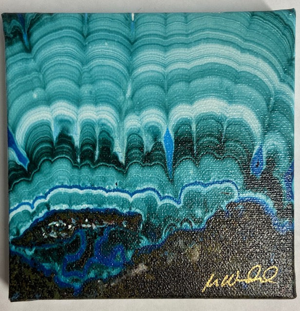 "Aqua Blue/Green and brown Gem macro photo on canvas by Mike Woodward.  5"" x 5"""