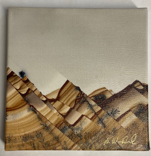 "Grey, brown and black 'mountains' gem macro photograph on canvas by Mike Woodward.  5"" x 5"""