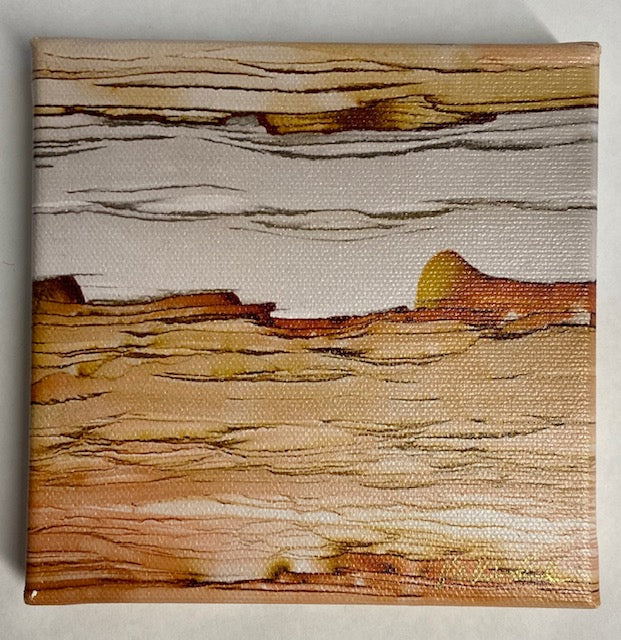 "Orange, tan and grey 'Desert Sands' gem macro photo on canvas by Mike Woodward.  5"" x 5"""