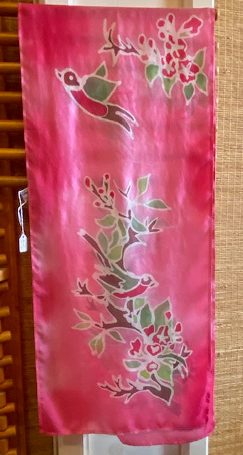 "Hand painted and batik scarf by Cornwall, England based artist Sharon Verry.  11"" x 55"""