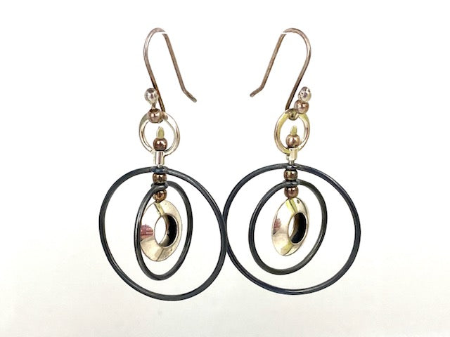 Sterling Silver Concentric Circle Earrings
