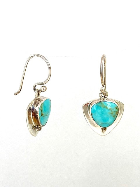 Sterling Silver sheild earrings with turquoise and french ear hooks.