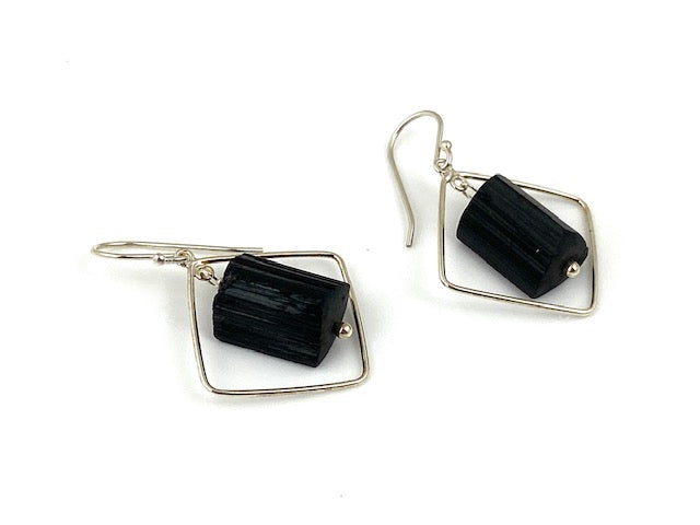 Black tourmaline crystals on Sterling silver wires made by EAT Gallery!!!
