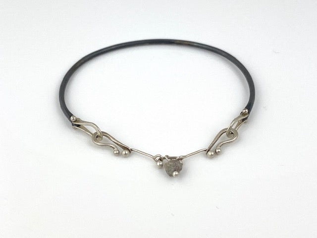 "Argentium silver and oxidized silver bracelet by Shayna Jingst Raw diamond bead on handmade chain Size medium - 6""  Signature collection"
