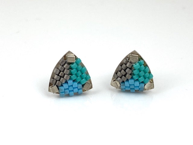 Sterling silver -Hand-stitched glass beads  Signature Collection Studs in teal