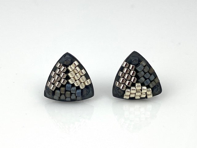 Sterling silver -Hand-stitched glass beads  Signature Collection Studs in black and silver