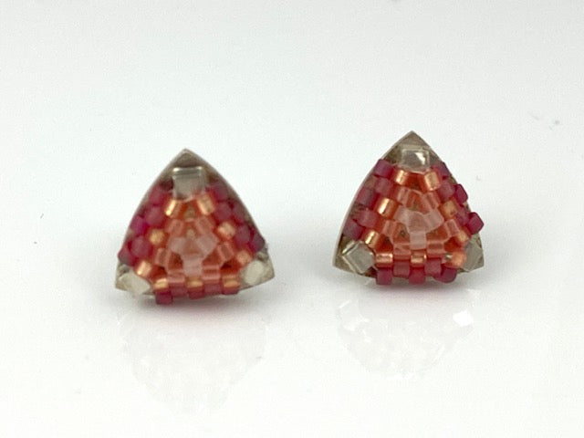 Sterling silver -Hand-stitched glass beads  Signature Collection Studs in rose