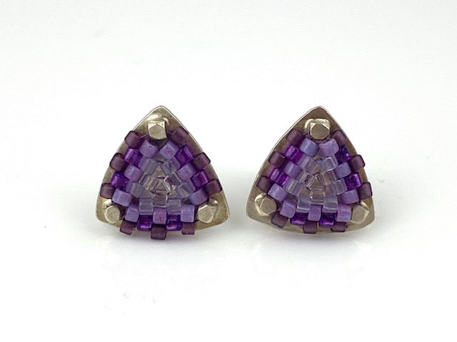 Sterling silver -Hand-stitched glass beads  Signature Collection Studs in purple