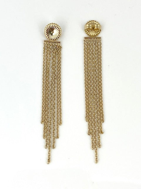 "18K Yellow Gold 'LONG"" Fringe Backs"