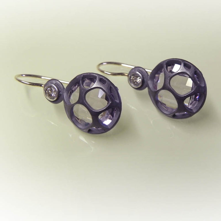 OXIDIZED STERLING EARRINGS WITH DIAMOND AND AMETHYST - EAT Gallery-mineral specimens, handcrafted jewelry, art, stone carvings, men's gifts, fine watches, home decor