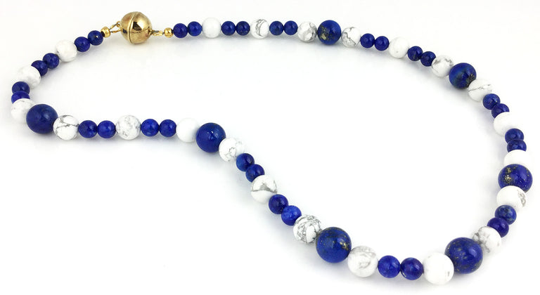 Lapis and howlite bead necklace handmade at the EAT Gallery with a magnetic sphere clasp