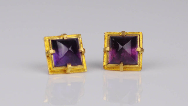 Natural amethyst stud earrings in 22k yellow gold by Michael Jensen Designs