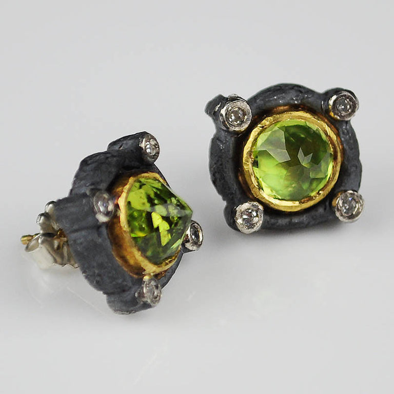 Vetus collection peridot and diamond earrings in Silver with 22k yellow gold by Michael Jensen Designs.