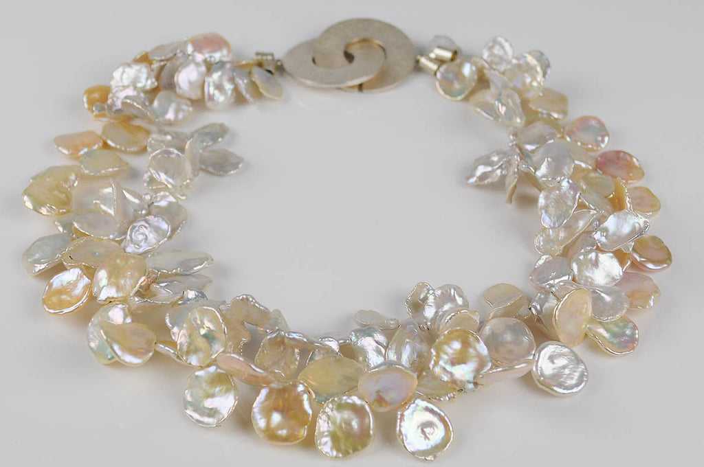PEACH/WHITE KESHI 'PETAL PEARLS'