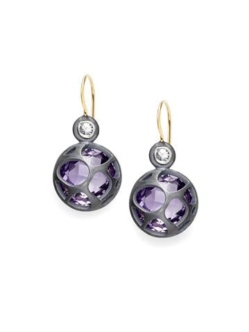 Barcelona cage amethyst earrings with 14k yellow gold, oxidized sterling silver and champagne diamonds.