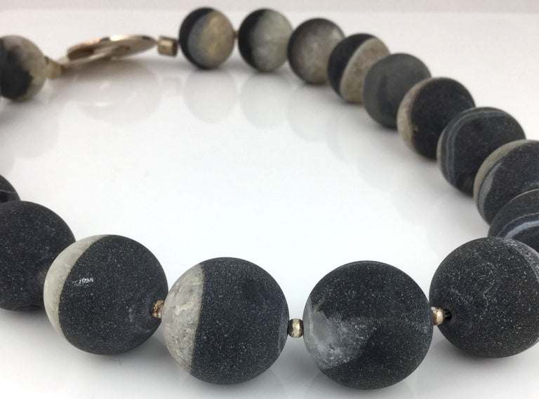 Black and white banded agate necklace with silver clasp designed and handmade at eat gallery